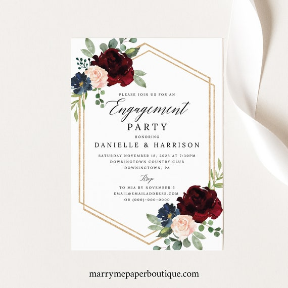 Engagement Party Invitation Template, Burgundy Navy, Order Edit & Download In Minutes, Try Before Purchase