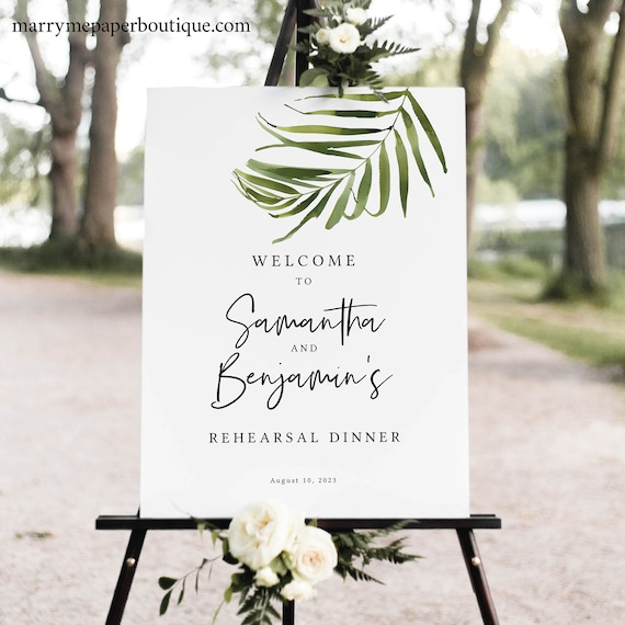 Tropical Rehearsal Dinner Welcome Sign Template, Rehearsal Dinner Sign Printable, Beach Wedding, Templett INSTANT Download