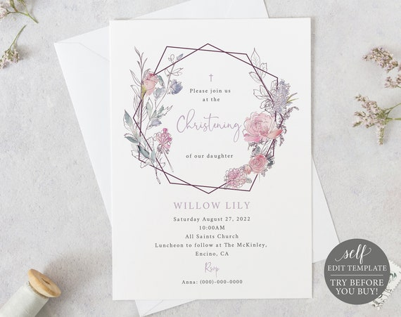 Christening Invitation Template, Pink Lilac Floral, Editable & Printable Instant Download, Demo Available