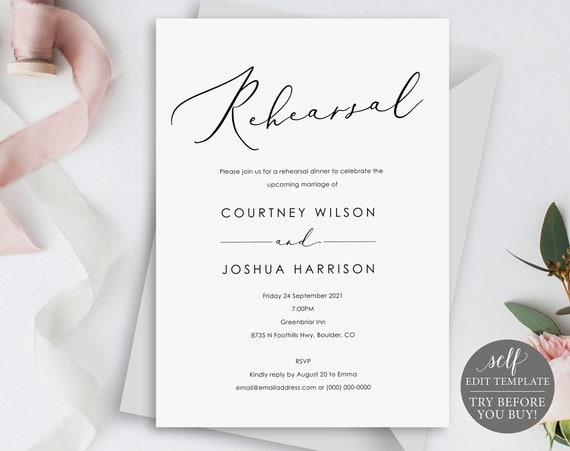 Rehearsal Dinner Invitation Template, Elegant Calligraphy, Editable Instant Download, TRY BEFORE You BUY