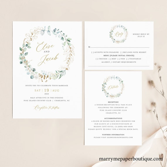 Wedding Invite Template Set, Gold & Greenery, Printable Invitation Set, Details, RSVP, Editable, Templett INSTANT Download