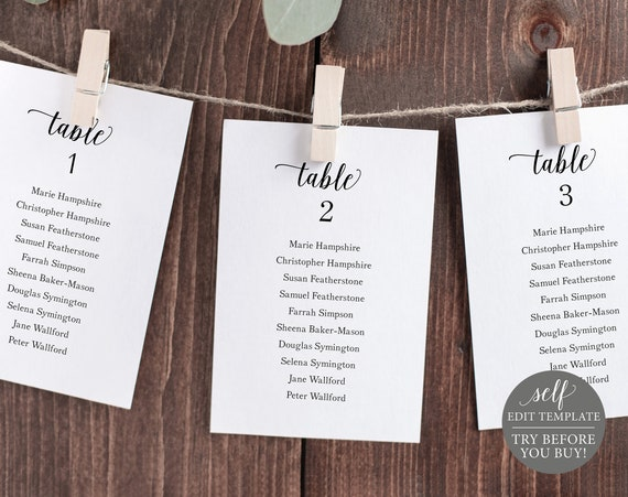 Wedding Seating Chart Template, 100% Editable Instant Download, Modern Script, TRY BEFORE You BUY