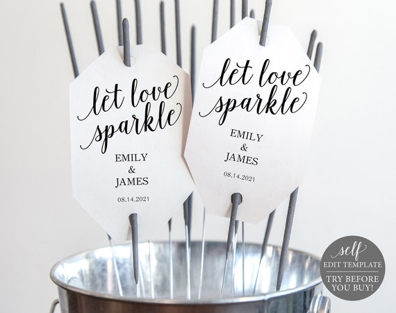 Sparkler Tag Template, Modern Script, 100% Editable Instant Download, TRY BEFORE You BUY