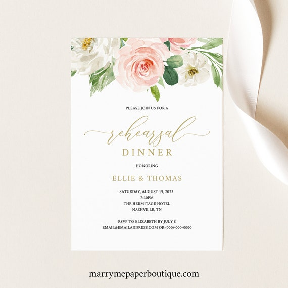 Rehearsal Dinner Invitation Template, TRY BEFORE You BUY, Editable Instant Download, Blush Floral