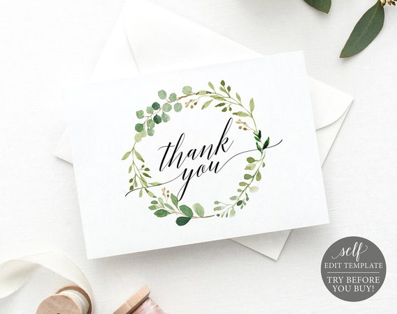 Thank You Card Template Fold, TRY BEFORE You BUY, Editable Instant Download, Greenery