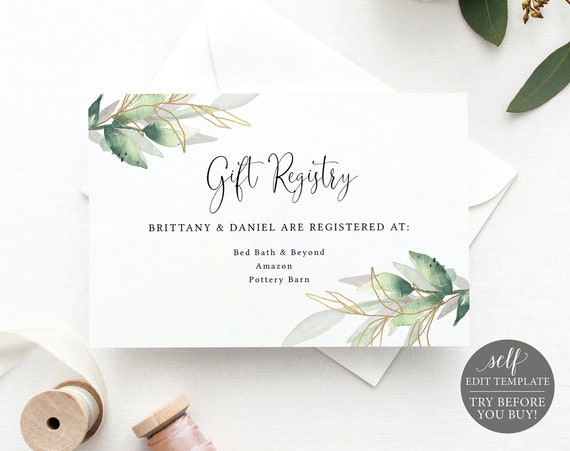 Wedding Gift Registry Card Template, Greenery Gold, Editable Instant Download, Free Demo Available