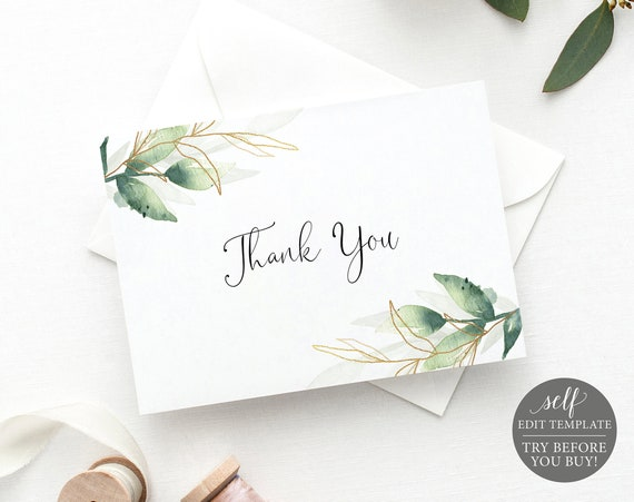 Thank You Card Template, Free Demo Available, Editable Instant Download, Greenery Gold Fold