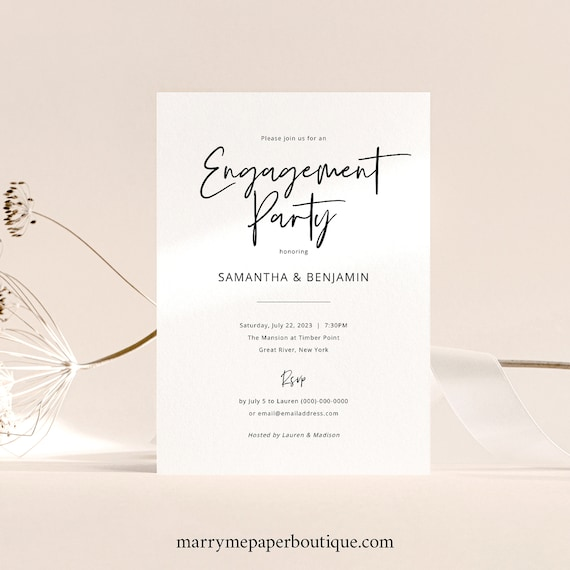 Engagement Party Invitation Template, Modern Minimalist Calligraphy, Engagement Party Invite, Printable, Editable, Templett INSTANT Download
