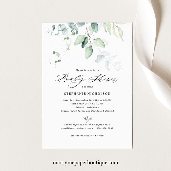 Greenery Baby Shower Invitation Template, Green Leaves, Boy & Girl Baby Shower Invite, Printable, Templett INSTANT Download, Editable