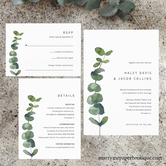 Wedding Invitation Suite Templates, Elegant Eucalyptus, Printable Invitation With Details & RSVP Cards, Editable, Templett INSTANT Download