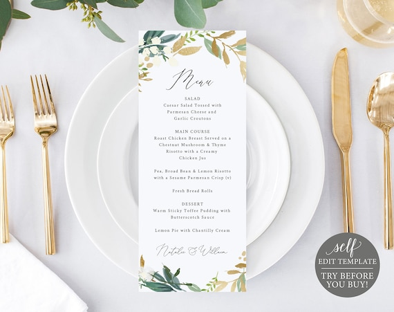 Wedding Menu Template, Greenery & Gold, TRY BEFORE You BUY, 100% Editable Instant Download