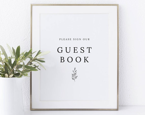 Guest Book Sign Template, Formal Botanical, Instant Download Non-Editable