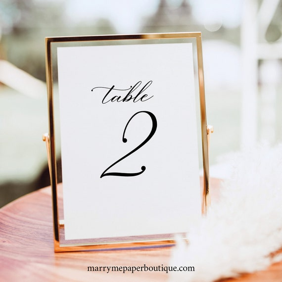 Table Number Sign Template, Elegant Romantic, Wedding Table Number Sign, Printable, Editable, Templett INSTANT Download