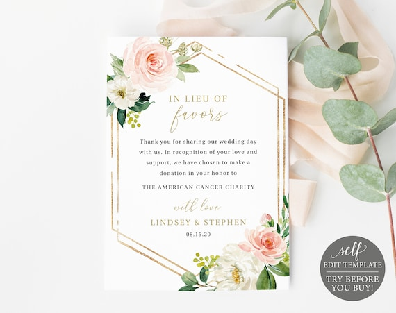 In Lieu of Favors Card Template, Blush Floral Hexagonal, Editable Instant Download, TRY BEFORE You BUY