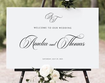 Wedding Welcome Sign Template, Traditional Wedding Calligraphy, Monogram, Wedding Sign Printable, Templett INSTANT Download, Landscape