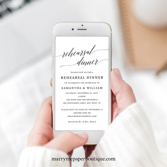Rehearsal Dinner Text Invitation Template, Elegant Electronic Wedding Rehearsal Invite, Editable, Templett, INSTANT Download