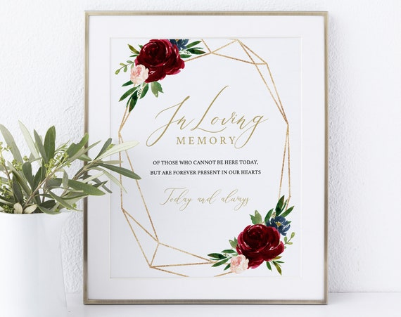 In Loving Memory Sign Template, Non-Editable Instant Download, Burgundy Geometric