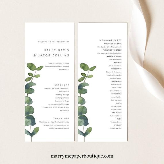 Wedding Program Template, Elegant Eucalyptus, Greenery Wedding Ceremony Program, Printable, Editable, Templett INSTANT Download
