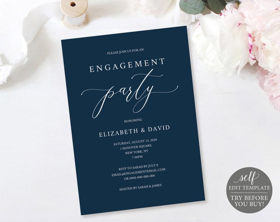 Engagement Party Invitation Template, Fully Editable, Instant Download, Navy, TRY BEFORE You BUY!