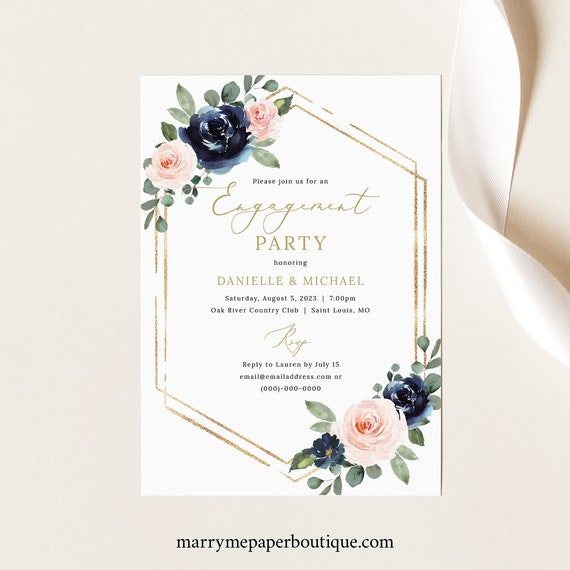 Engagement Party Invitation Template, Navy & Blush Floral, Printable Engagement Party Invite, Editable, Templett INSTANT Download