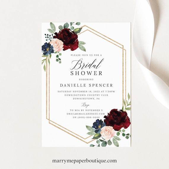 Bridal Shower Invitation Template, Templett Printable, Editable Instant Download, Burgundy Navy