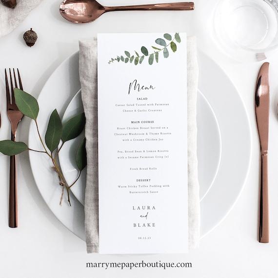 Greenery Menu Template, Eucalyptus Wedding Menu Printable, Templett Editable, Instant Download, Try Before Purchase