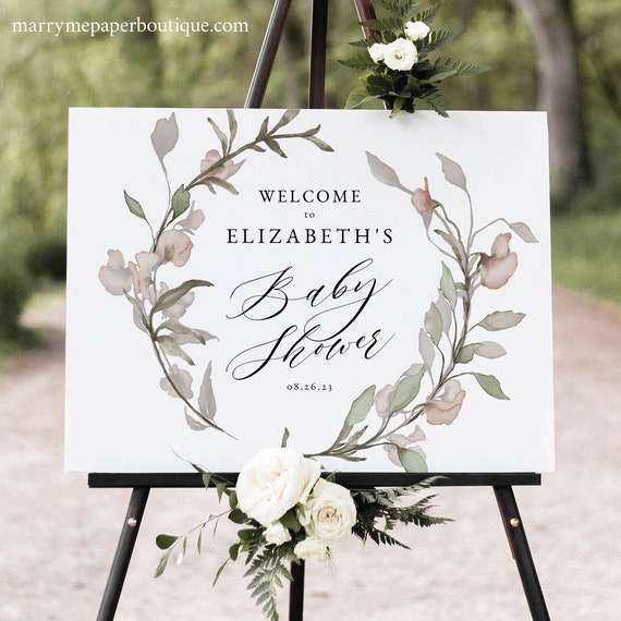Blush Floral Baby Shower Welcome Sign Template, Greenery Baby Shower Sign, Printable, Templett INSTANT Download, Editable