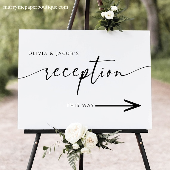 Wedding Reception Direction Sign Template, Modern Calligraphy, Reception Directional Sign with Arrow, Printable, Templett INSTANT Download