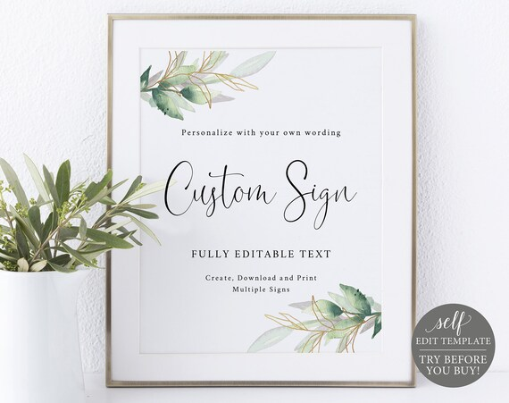 Create MULTIPLE Signs Template 8x10, Greenery Gold, Editable Instant Download, TRY BEFORE You Buy