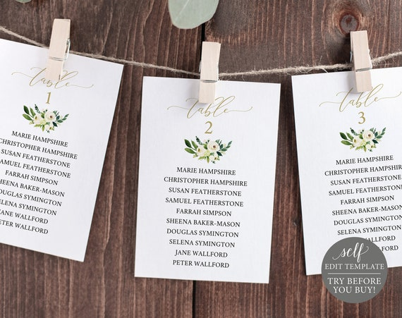 Wedding Seating Chart Template, Editable Instant Download, White Floral, TRY BEFORE You BUY