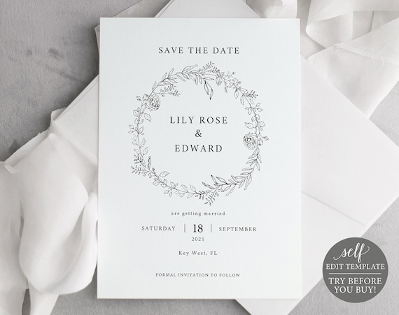 Save the Date Template, Free Demo Available, Editable Instant Download, Botanical Floral