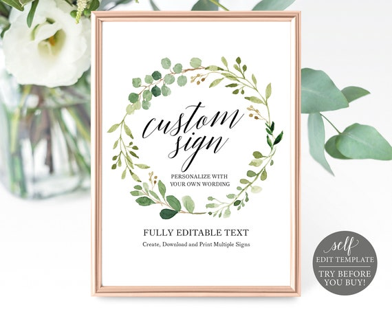 Create Multiple Wedding Signs, 100% Editable, Greenery Template, 8x10, Instant Download