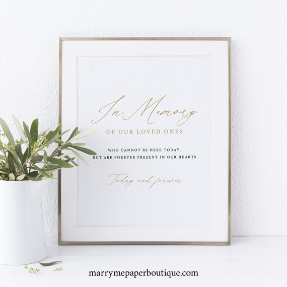 In Memory Sign Template, Stylish Script Gold, Instant Download, Editable Template