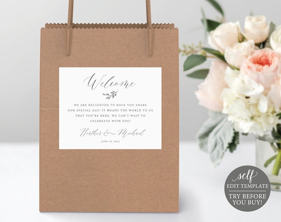 Welcome Bag Label Template, Demo Available, Printable Editable Instant Download, Delicate Script