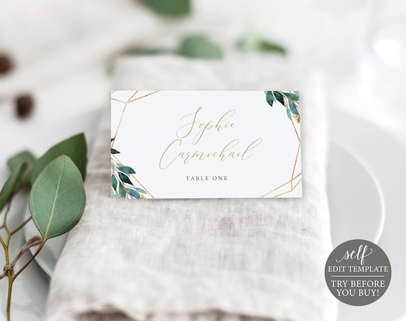 Place Card Template, Editable Instant Download, Greenery Geometric, TRY BEFORE You BUY!