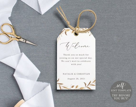 Welcome Tag Template, Gold Wreath, TRY BEFORE You BUY, 100% Editable Instant Download