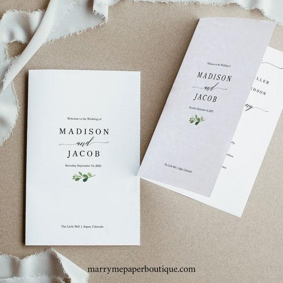 Wedding Program Template, Printable Wedding Program, Greenery Wedding, Catholic Wedding Ceremony Program, Program Fold, Download, MM07-1C