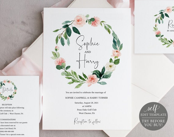 Wedding Invitation Template Set, TRY BEFORE You BUY, Editable Instant Download, Blush Pink Floral Greenery