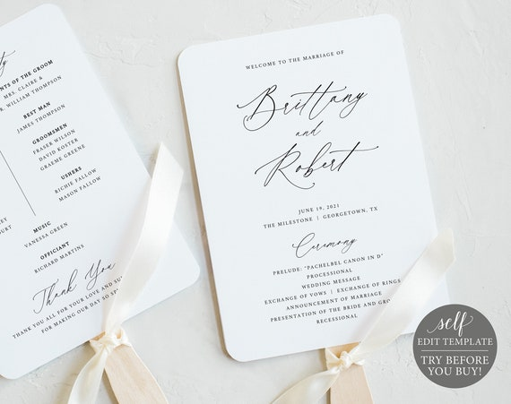 Wedding Fan Program Template, TRY BEFORE You BUY, Stylish Script, 100% Editable Instant Download