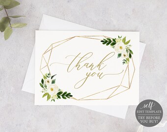 Thank You Card Template Folded, Fully Editable Instant Download, TRY BEFORE You BUY, White Floral Geometric