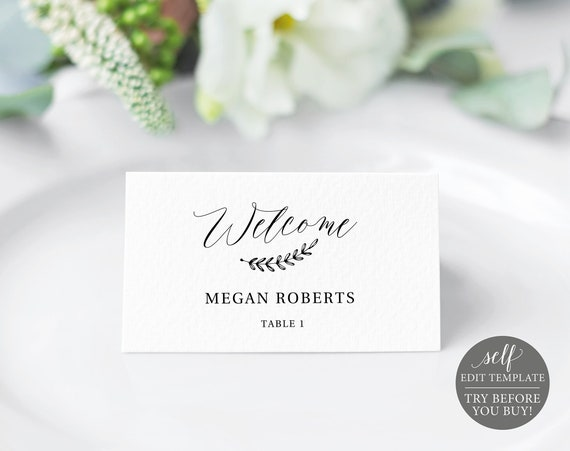 Rustic Place Card Template, Editable Instant Download, Free Demo Available