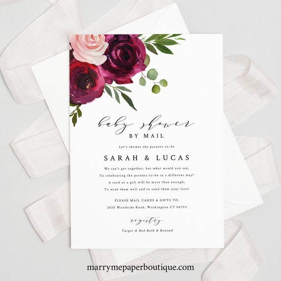 Burgundy Floral Baby Shower By Mail Invite Template, Social Distance, Shower Invitation Printable, Templett Instant Download