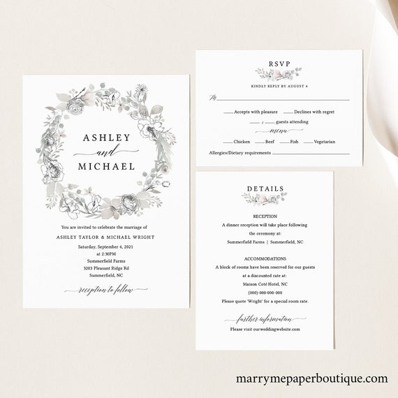 Wedding Invitation Set Templates, Neutral Floral, TRY BEFORE You BUY, Fully Editable Instant Download