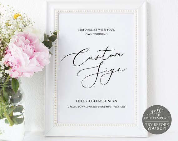 Create Multiple Wedding Signs Template, TRY BEFORE You BUY, 100% Editable Instant Download