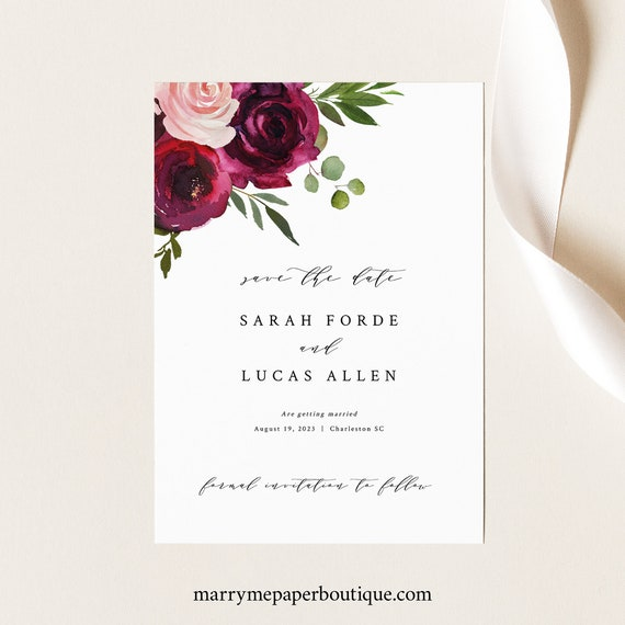Save the Date Template, Burgundy Floral, Card Printable, Templett Instant Download, Try Before You Buy