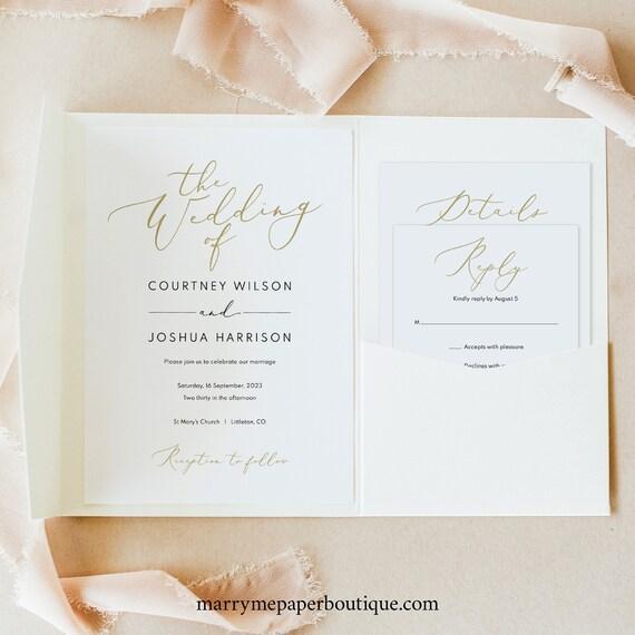 Wedding Invitation Template Set, Pocket Fold, Elegant Gold Script, Printable Invite Set, Editable, Templett, INSTANT Download