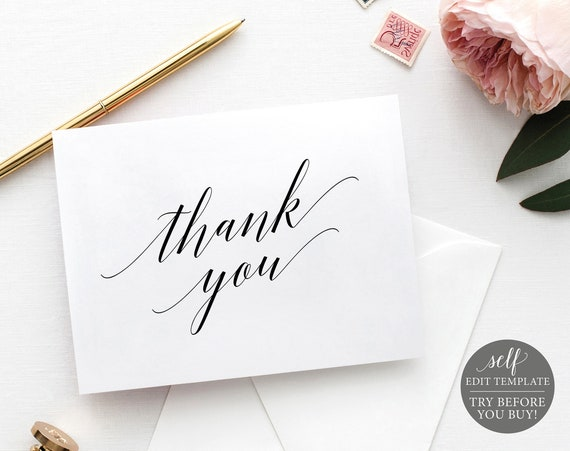 Thank You Card Template Folded, Calligraphy, FREE Demo Available, 100% Editable Instant Download