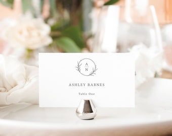 Place Card Template, Fully Editable Seating Card Printable, Templett Instant Download, Circle Monogram Design
