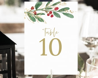 Winter Wedding Table Number Template, Christmas Wedding, Printable Table Number Sign, Templett, Editable, INSTANT Download