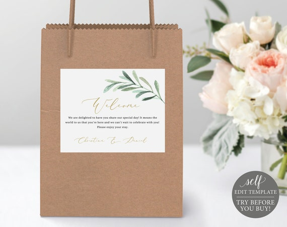 Guest Welcome Bag Label Template, TRY BEFORE You BUY, Greenery Leaf, Editable Instant Download